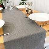 Little Bloom ZJM-TischLäufer Chinesische Stil Unterschrift Baumwolle Tischläufer Doppel-Deck verdicken wasserdicht ( Farbe : Grau , größe : 30*220cm )