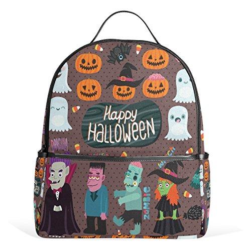 COOSUN Halloween-Hexe Dracula Monster Und Zombie Schule Rucksäcke Bookbags für Junge Mädchen Teen Kinder Klein ()