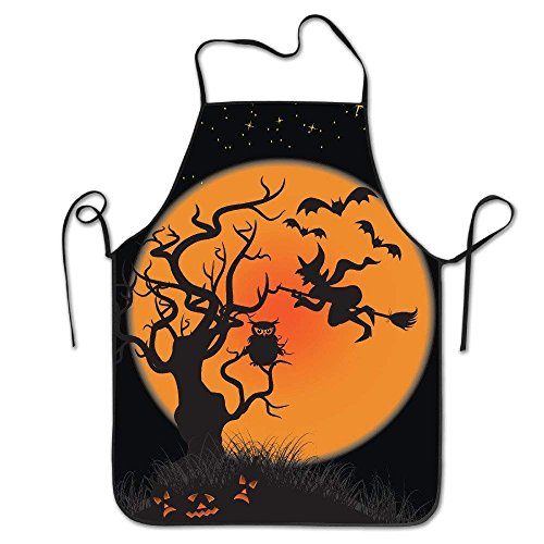 ghfghgfghnf Womens Halloween Witches Pumpkins Bats Owl Moon Kitchen Cooking Chef Baking Apron with Adjustable