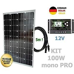 VIASOLAR Kit 100W Pro 12V Panneau Solaire monocristallin cellules allemandes