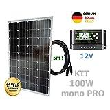 VIASOLAR 100W 12V Monokristallin Solaranlage PRO Solarmodul deutsche Solarzellen