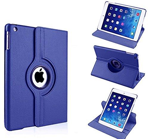 Nouveau design bleu foncé en PU imitation cuir avec support rotatif à 360° Etui folio Housse pour iPad 2