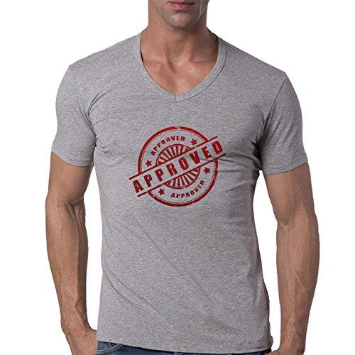 Approved Logo Red Stars Icon Herren V-Neck T-Shirt Grau
