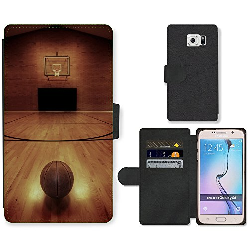 PU Cuir Flip Etui Portefeuille Coque Case Cover véritable Leather Housse Couvrir Couverture Fermeture Magnetique Silicone Support Carte Slots Protection Shell // V00002567 Cancha de basketball // Samsung Galaxy S6 (Not Fits S6 EDGE)