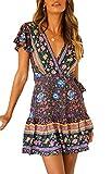 Ajpguot Vestido de Verano Mujer Impresión Mini Vestidos de Playa V-Cuello Manga Corta Vestido con Cinturón Sundress Elegante Corto Dress de Partido Fiesta (S, 101116 Azul)