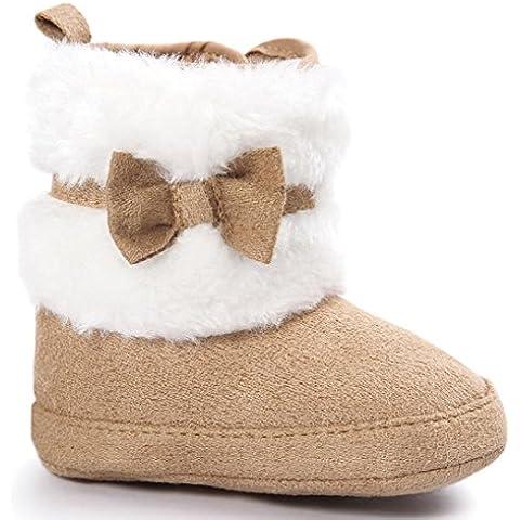 Transer® Bebé Bowknot mantener caliente zapatos de suela suave suave cuna niño botas botas de