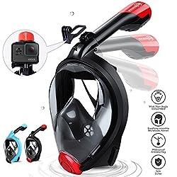 HENGBIRD Masque Snorkeling Masque de Plongée Intégral Complet Antibuée Anti-Fuite d'Eau Lunettes de Plongée Plein Visage 180° Visible et Le Support pour Caméra Sport-Rouge(S/M)