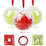 Shinyee Palline di Natale Sfera Plastica Trasparenti Palla Palle da Natalizie Albero Apribili Decorative-8cm-12pz
