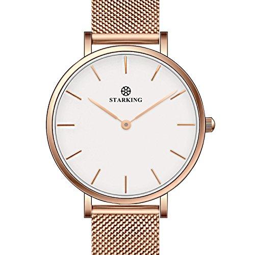Fashion Starking Woman Minimalist Quartz Wristwatch Thin Rose Gold Mesh Band Casual Small Face Lady Dress Watch