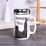 Satyam Kraft (Pack of 1) London City Printed Ceramic Coffee Mug with Lid