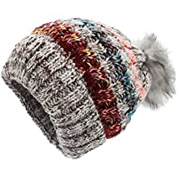 Sombreros de punto para las mujeres - YOPINDO Girls Beanie Hat lana de invierno de invierno de esquí al aire libre Snowboard Bobble hemming sombreros Gorra con lindo Big Ball Pom Pom (Gris)