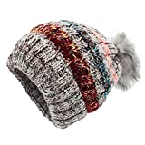 Bobble sombrero mujer - Slouchy gorro de punto gorro de invierno gorro de invierno para mujeres, Gorros de ganchillo Chunky Stretch Ski Cap