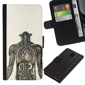 YiPhone /// Retourner Affaire portefeuille en cuir avec des fentes de cartes - Human Anatomy Graphique - Samsung Galaxy Note 3 III