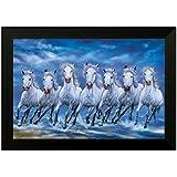 SAF 6545G Seven Running Horses||vastu Painting For Home And Office||Seven Lucky Running Horses Painting || 7 Horses Painting ||seven Horses||vastu Horses||Shyam Art 'N' Frame Exclusive Framed Wall Art Paintings(Wood,35cmx 2Cmx 50Cm Framed Painting)