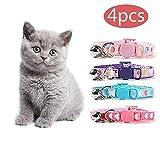 kingkindsun KKS - Collar para Gato (4 Unidades, Suave, Ajustable, con Tira de Nailon en Forma de corazón para Gato, Cachorro, Gatito)