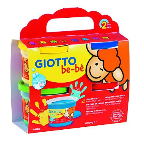 Fila- CF 4 Bar 150Ml Giotto Bebe' Dita Contiene Grembiulino Tempere Artistiche 352, Multicolore, 8000825006371