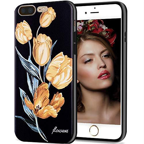 iPhone 7 Plus Hülle, iPhone 8 Plus Hülle, Aikin einfach entworfenes Blumen-Muster, weiche TPU Flexible Hülle, stoßfest, niedliche Schutzhülle für iPhone 7 Plus, iPhone 8 Plus, Yellow Tulips Le Top Tulip