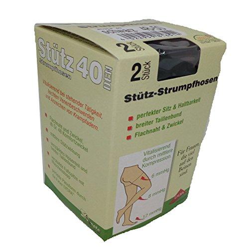 2Stück Stütz-Strumpfhosen 40DEN. Vitalisierend durch mittlere Kompression. (52/54, Schwarz) (Stützstrumpfhosen)