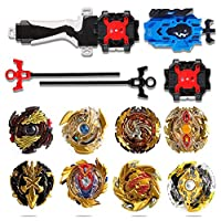 infinitoo 8 Pcs Battling Top Bey Burst, Metal Master Fighter Gyroscope, 4D Fusion Model Burst Evolution Combination Series, Educational Toys with 2 Launcher for Kids Children Gift