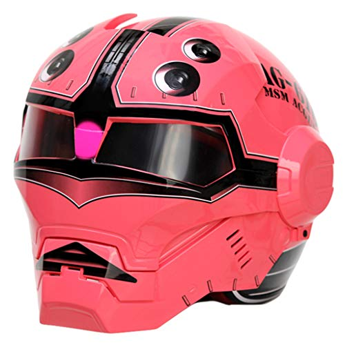 wthfwm Caschi Moto Integrale Caschi Moto Open-Face Casco Moto Rosa per Adulto Casco Harley Helmet Vintage,Pink-M