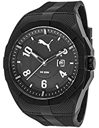 Puma Iconic Men's Quartz Watch with Black Dial Analogue Display and Black Plastic Strap