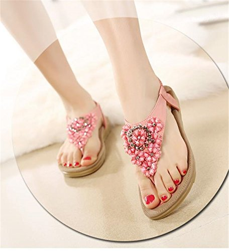 Clipe Sandálias Dedo De Sapatos Verão Subiu Shunliu Praia Sapatos Praia Plana De Sandálias Mulheres De wR4nx4qSAX