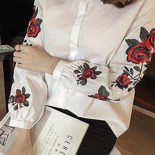 Dihope Printemps Automne T-Shirt Casual Tee-Shirt Mode Broderie Haut Pour Femmes Top à Manches Longues Col Roulé Chemisier de Loisir Blanc