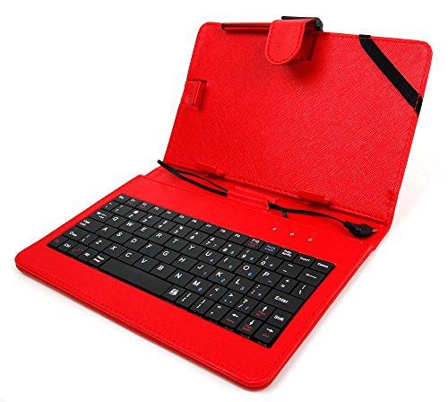 DuraGadget Rote Schutzhülle Etui Tasche Case aus Premium Lederimitat mit integrierter Tastatur / Keyboard für Odys Xelio PhoneTab 7 | Junior Tab 8 Pro | Syno (X610111) | Maven 7 | Mira | Orbit LTE | Pro Q8 | Xelio Phone Tab 3 LTE Tablets - ENGLISCHE QWERTY Belegung