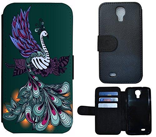 Schutz Hülle Flip Cover Handy Tasche Etui Case für (Apple iPhone 6 / 6s, 1117 Pfau Vogel Cartoon Grün Lila) 1117 Pfau Vogel Cartoon Grün Lila