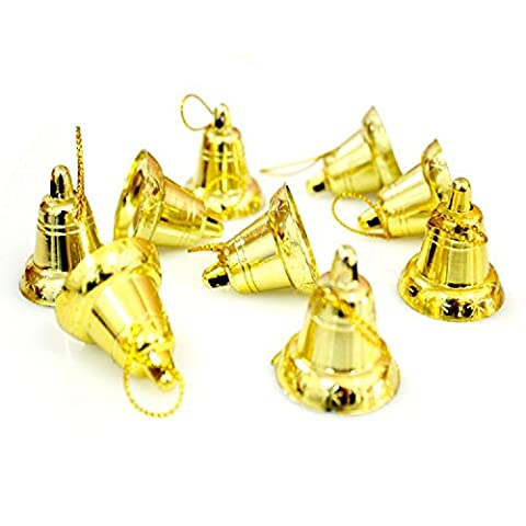 Dealglad® 9 PCS Plastic Golden Bell Christmas Deco Ornament Hanging Accessory for Christmas Tree Decoration