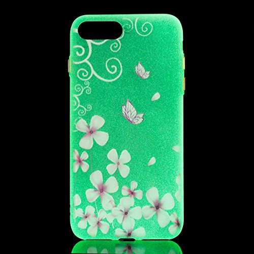 Felfy Coque Pour iPhone 7 Plus,iPhone 7 Plus Silicone Case Cover Ultra Mince Slim Silicone élégant Gel Translucide TPU Souple Motif Design Noctilucent TPU Case Slim Fit Protection Case Coque Bumper Ca Fleur de Papillon Case