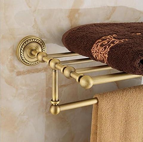 LD&P Retro Badezimmer Regale alles bronze Handtuchhalter Wandmontiert Doppelschicht (Nickel Poliert Kabinett Hardware)
