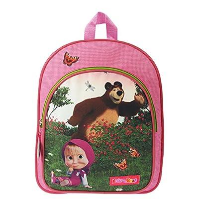 Mascha und der Bär Masha and the bear Rucksack Backpack rosa 31x26x10 cm mit Vordertasche