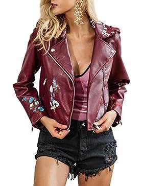 Simplee mujeres solapa de imitacion de cuero bordado ropa de motociclista chaqueta corta Outwear