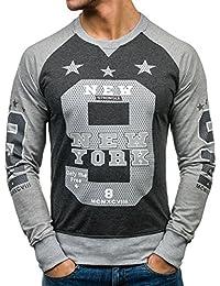 BOLF – Sweat-shirt – Manches longues – U-neck – Homme – Motif – 1A1