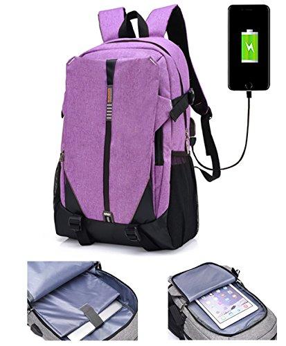 lemongirl Slim Laptop-Rucksack, Laptop Taschen mit Kopfhörer Port und USB Anschlüsse, die Reise BACKPCK für Damen und Herren violett violett Einheitsgröße (Geldbörse-reiniger Leder)