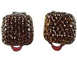 Ohrringe Schmuck Ohrclip Clip Clipse - ohne Loch tragbar - dunkel braun Straß Style Kunststoff 2940