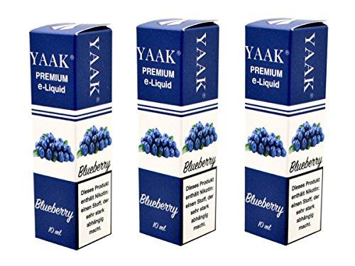YAAK® Premium E-Liquid / Liquid 3 x 10 ml Blaubeere ohne Nikotin / E-Zigaretten, Elektrische-Zigarette, E-Shisha / Geschmacksaroma Blueberry Ziel Nikotin