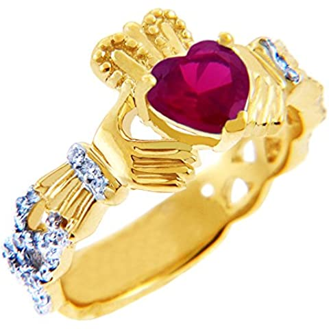Piccoli Tesori - Anello Donna 18 ct Oro0.4 Ct. Diamante Claddagh con 1.10 ct Oro 471/1000. Rubino