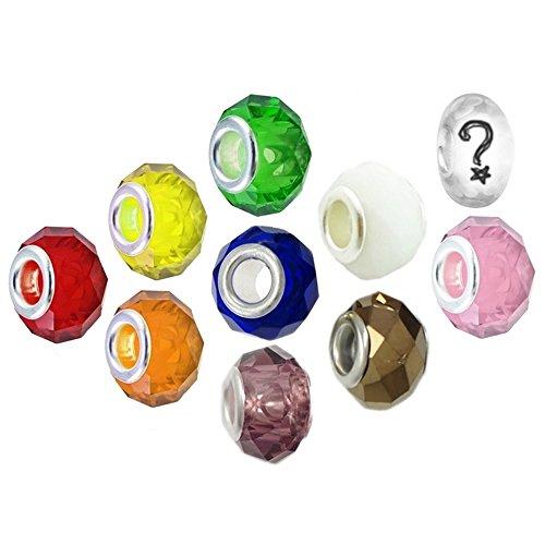 Timeline trinketts facettierte Glas Charme Perlen Armband für Pandora Schmuck europäischen Stil–Rainbow (Womens Multi Kristall Perlen)