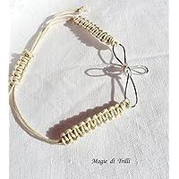 Magie di Trilli - Bracciale macramè beige color corda con croce argentata - Idea regalo Prima Comunione Cresima