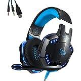 EasySMX G2000 EACH Juego Auriculares Estéreo de PC Auriculares Alámbrico de Juego por Cable con Diadema Ajustable y Micrófono USB y 3,5 mm conector de Audio Indicador LED Aislar Ruidos / Controlar el Volumen en línea para PC PS4(Necesita 2-en-1 cable)--Azul