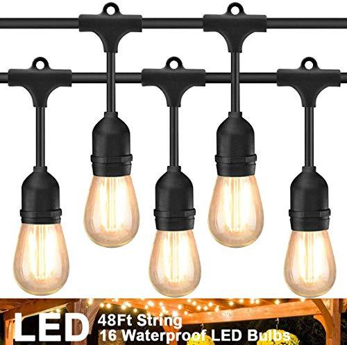 Luces LED de exterior para cadena de 48 pies con 16 enchufes colgantes Cafe Vintage bistró resistente a la intemperie para jardín de patio porche 2W