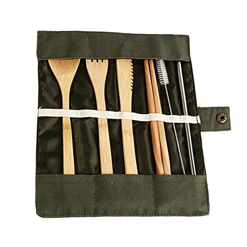 Syfinee Eco-Friendly Reusable Bamboo Cutlery Set Fork Spoon Chopsticks Metal Straw Cleaning Brush Kit (Kit Utensil Travel)