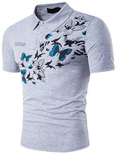 Whatlees Herren Urban Basic schmale Passform Polohemd mit Bunt Druckmuster und Stickerei B523-Gray