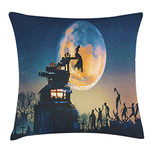 Fantasy World Throw Pillow Cushion Cover, Dead Queen in Castle Zombies in Cemetery Love Affair Bridal Halloween Theme, Decorative Square Accent Pillow Case,Blue Yellow Size:20X20 Inches/50X50Cm (Halloween Pj Zombie)