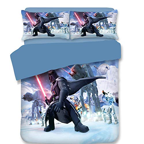 Smile Bettwäsche Bettbezug 3-teilig Superweiche Kinder Star Wars Druck Ausbleichen Polyester Mikrofaser Bequeme Bettwäsche,01,Twin (Star Wars Bettwäsche Twin)