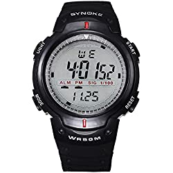 ufengke® men timer swimming sports running digital watch with rubber strap-black
