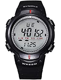 Brand SYNOKE Multifunctional Men Timer Waterproof Swimming Sports Running Digital Watch With Rubber Strap-Black