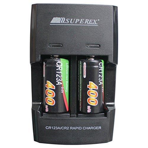 SUPEREX® 2 Stücke CR123 16340 wiederaufladbare aufladbare ladbare Batterien rechargeable battery charger digital kamera Photo camcorder + Akku Ladegerät für 3V 400mAh CR123A Lithium-Ionen Schnellladegerät Externer Akku schwarz
